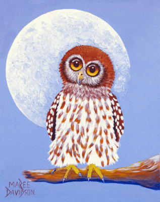 ONCE IN A BLUE MOON OWL |Maree Davidson Art