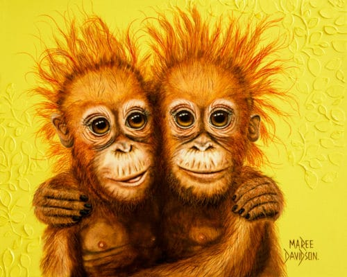 Orangutan Paintings Forever Friends