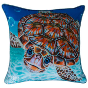 BUBBLES THE GREEN SEA TURTLE CUSHION COVER MAREE DAVIDSON ART