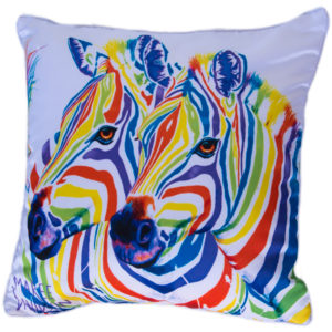 RAINBOW ZEBRA CUSHION COVERS Maree Davidson Art