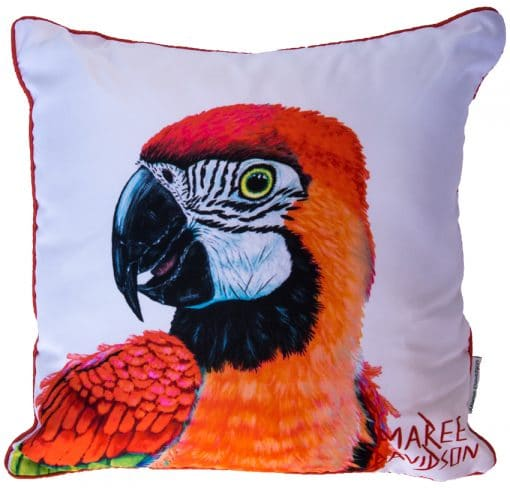 RED MACAW CUSHION COVERS Maree Davidson Art