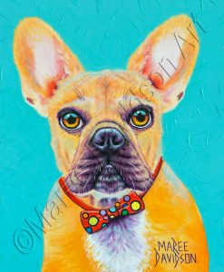 DOG COLLECTION - AQUA FRENCH BULLDOG Maree Davidson Art