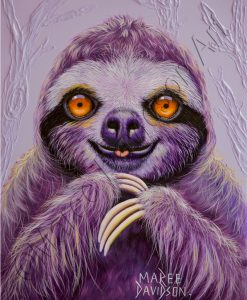 SLOTH PAINTING - CLAUDE THE SLOTH Maree Davidson Art