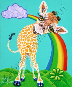 RAINBOW GIRAFFE - MY LUCKY DAY Maree Davidson Art