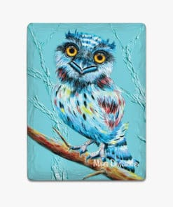 AQUA TAWNY FROGMOUTH- Ceramic Magnets - Maree Davidson
