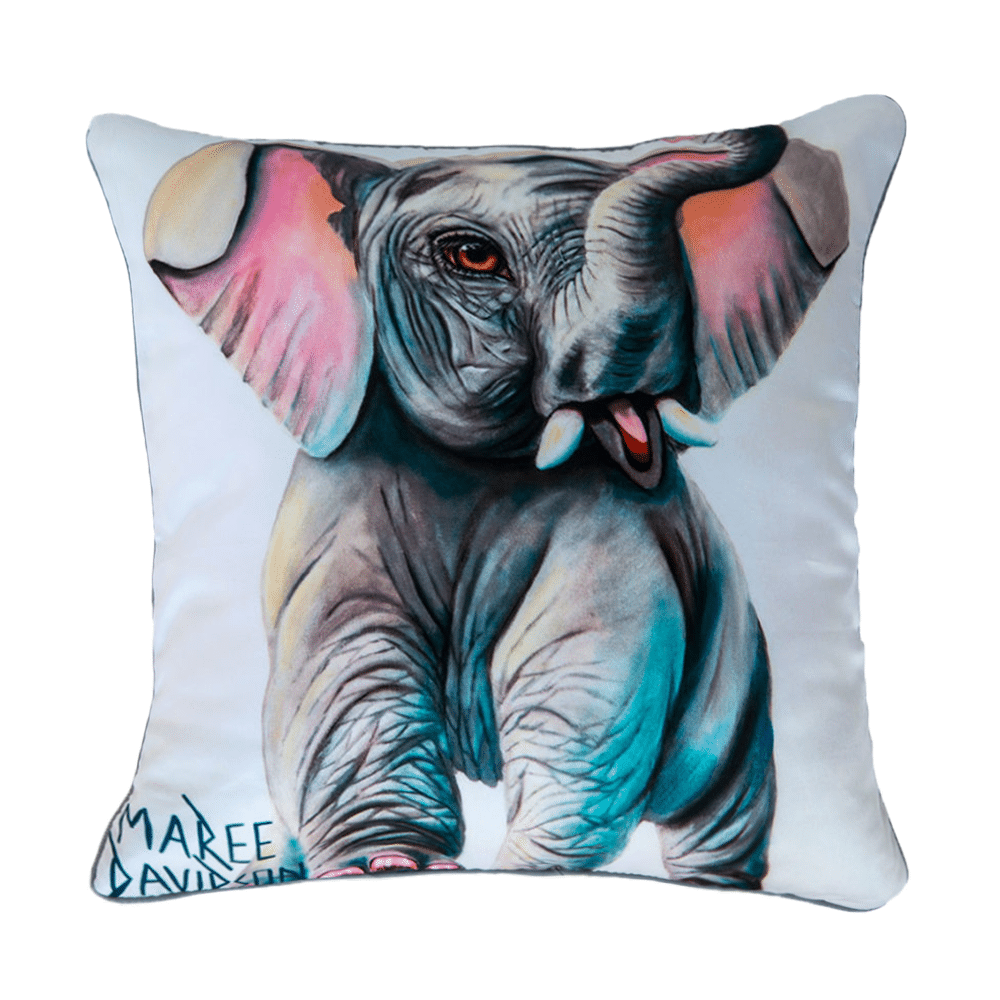 BABY ELEPHANT - CUSHION COVER - MAREE DAVIDSON ART