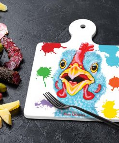 BLUE CHICKEN LENNY-SQUARE TRIVETS-MAREE DAVIDSON ART