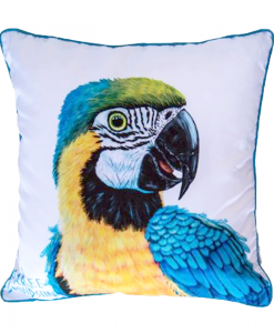 BLUE MACAW - CUSHION COVER - MAREE DAVIDSON ART