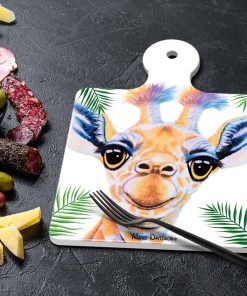 BOBBY THE BABY GIRAFFE-SQUARE TRIVETS-MAREE DAVIDSON ART