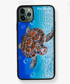 Bubbles iPhone Case Cover - Green Sea Turtle