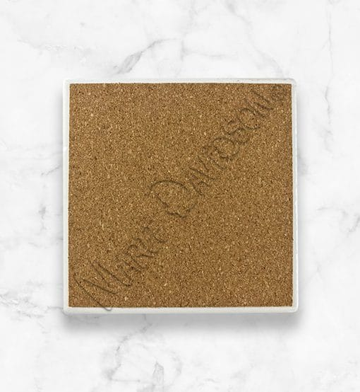 Maree Davidson Art Ceramic Coaster backing cork