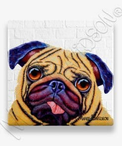 Doug the Pug dog Maree Davidson Art Ceramic Coaster