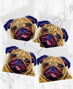 Doug the Pug dog Maree Davidson Art Ceramic Coasters