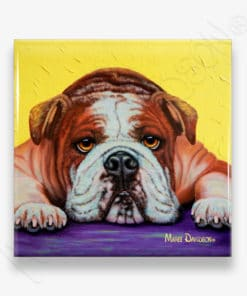 English Bulldog Angel - Ceramic Coaster - Maree Davidson