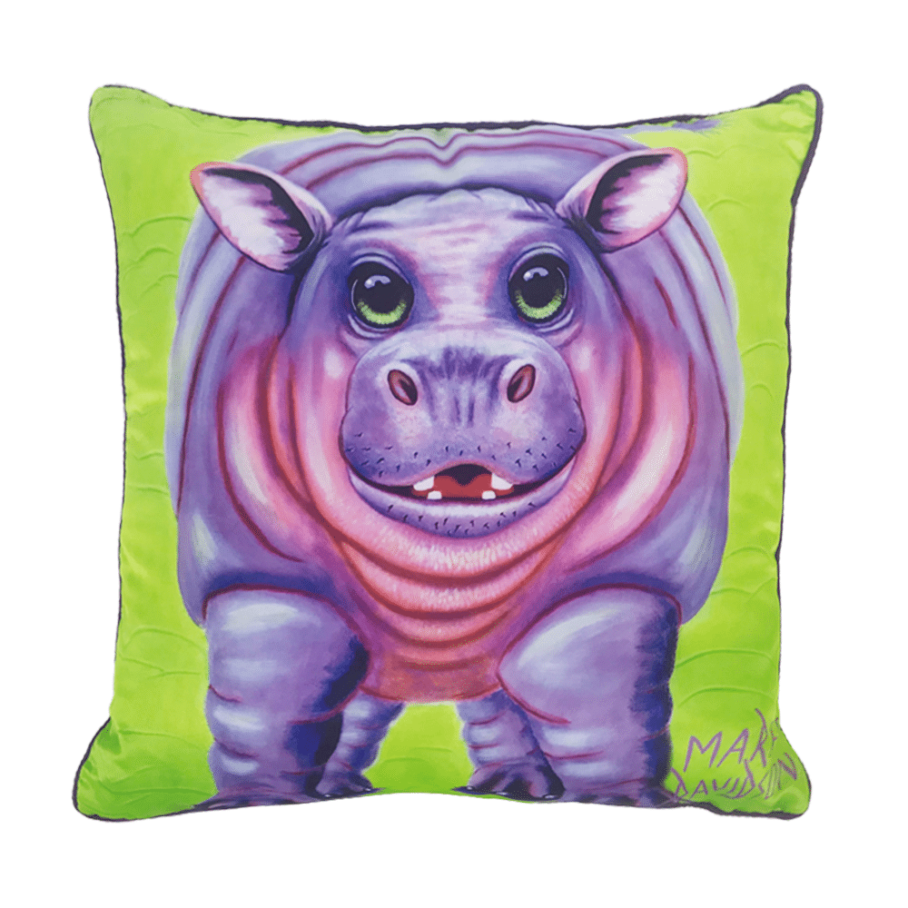 HAPPY HIPPO - CUSHION COVER - MAREE DAVIDSON ART