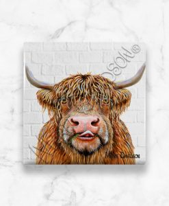 Hamish Highland Cow Maree Davidson Art Ceramic Coaster
