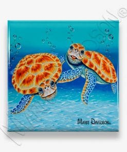 Happy Together Turtle Maree Davidson Art Ceramic Coaster