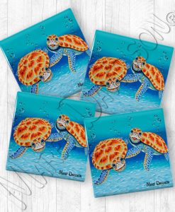 Happy Together Turtles Maree Davidson Art Ceramic Coasters