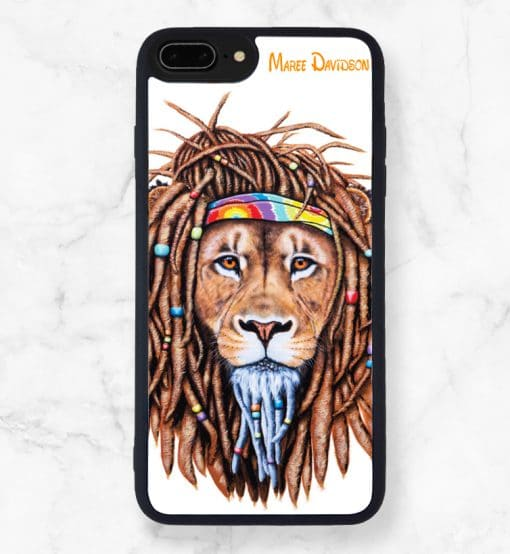 Hippie Lion Black iPhone Case - Maree Davidson