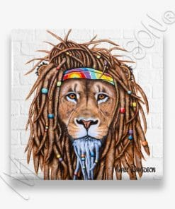 Hippie Lion - Ceramic Coaster - Maree Davidson