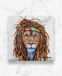Hippie Lion Maree Davidson Art Ceramic Coaster