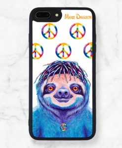 Hippie Sloth Black iPhone Case - Maree Davidson