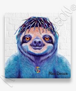 Hippie Sloth - Ceramic Coaster - Maree Davidson