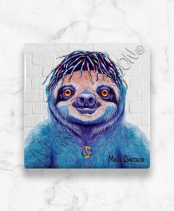 Hippie Sloth Maree Davidson Art Ceramic Coaster