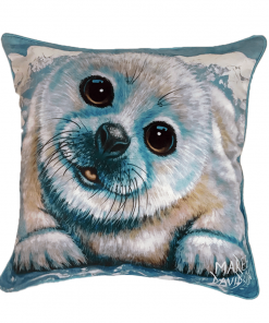 JUST CHILLIN - HARP SEAL - CUSHION COVER - MAREE DAVIDSON ART