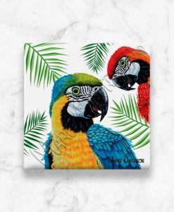 Blue Red Macaw Maree Davidson Art Ceramic Coaster