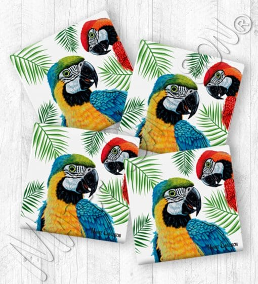 Blue Red Macaws Maree Davidson Art Ceramic Coasters