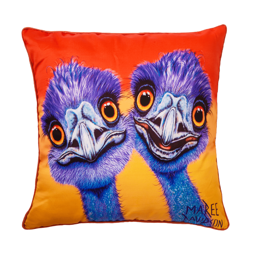 OUTBACK BUDDIES - EMU - CUSHION COVER - MAREE DAVIDSON ART