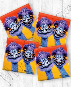 Outback Buddies Emus Maree Davidson Art Ceramic Coasters