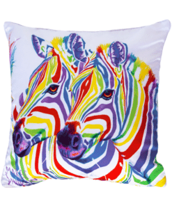 RAINBOW ZEBRAS - CUSHION COVER - MAREE DAVIDSON ART