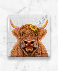 Shazza Highland Cow Maree Davidson Art Ceramic Coaster