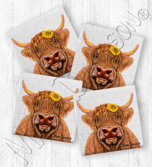 Shazza Highland Cow Maree Davidson Art Ceramic Coasters