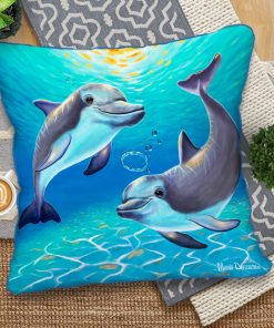 Two Dolphins - European Cushion Covers