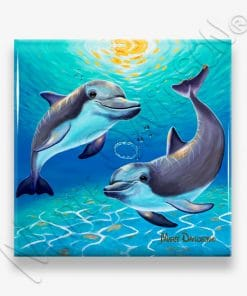 Two Dolphins - Ceramic Coasters Multiple - Maree Davidson