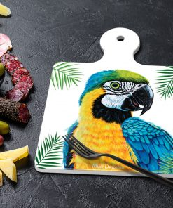 YELLOW MACAW - SQUARE TRIVETS WITH HANDLE-MAREE DAVIDSON ART